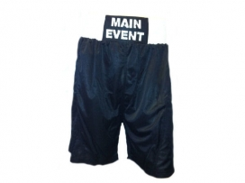 Main Event Satin Punch Boxing Shorts - Black with White Trim