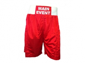 Main Event Satin Punch Boxing Shorts - Red with White Trim
