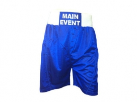 Main Event Satin Punch Boxing Shorts - Blue with White Trim