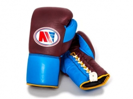 Main Event PFG 4000 Pro Fight Boxing Gloves Lace Up Claret Blue