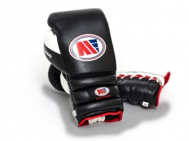 Main Event PSG 5000 Pro Spar Boxing Gloves Lace Up Black White