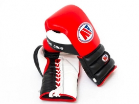 Main Event PSG 5000 Pro Spar Boxing Gloves Lace Up Red Black White
