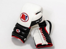 Main Event PSG 5000 Pro Spar Boxing Gloves Lace Up White Black
