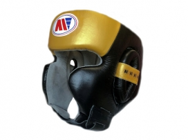 Main Event Boxing Training Head Guard Cheek Protection Gold Black