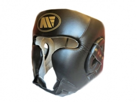 Main Event Boxing Training Head Guard Cheek Protection Black Gold