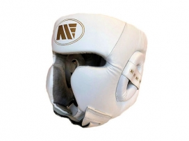Main Event Boxing Training Head Guard Cheek Protection White Gold