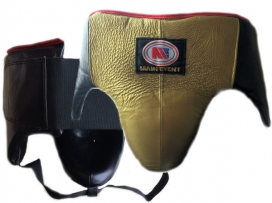 Main Event Boxing Pro Leather Groin Guard Protector Gold Black