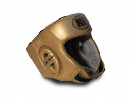 Main Event Childrens Kids Leather Training Boxing Head Guard Gold