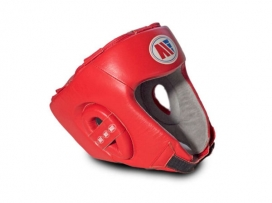 Main Event Childrens Kids Leather Training Boxing Head Guard Red