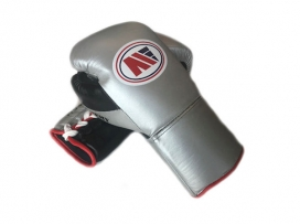 Main Event PFG 3000 Pro Fight Gloves Lace Up Silver Black