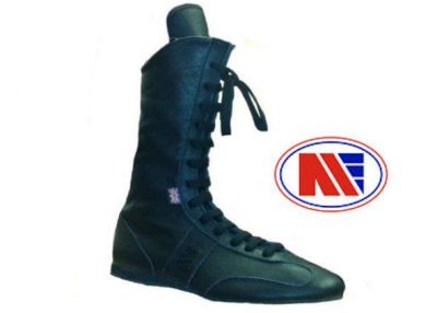 Main Event Pro Elite High Cut Leather Boxing Boots Black