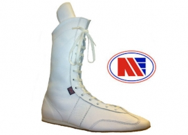 Main Event Pro Elite High Cut Leather Boxing Boots White