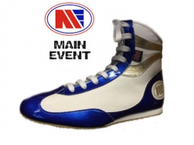 Main Event Alchemy Pro Elite Boxing Boots White Blue Gold