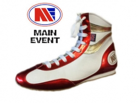Main Event Alchemy Pro Elite Boxing Boots White Red Gold