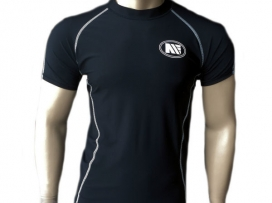 Main Event Base Layer Rash Guard Top Short Sleeves Black