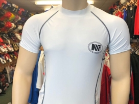 Main Event Base Layer Rash Guard Top Short Sleeves White