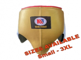 Main Event Boxing Pro Leather Groin Guard Protector White Gold